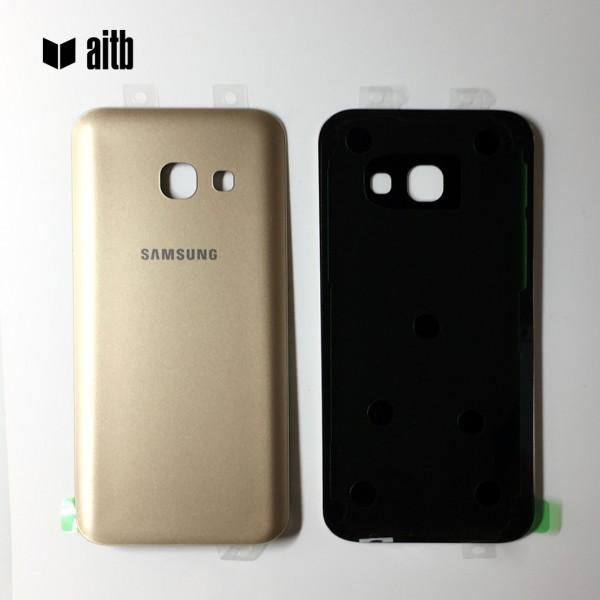 Samsung Galaxy A3 (2017) A320 Backcover Akkudeckel in gold + Kleber